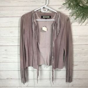 Bebe | 100% Leather Fringes Suede Jacket S
